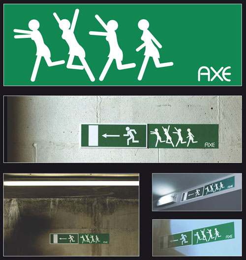 Axe-Emergency-Exit-sign 500 Creative And Cool Advertisement Ideas