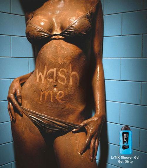 Ideas de publicidad de Lynx-shower-gel-wash-me: 500 anuncios creativos y geniales