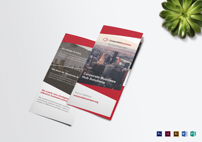 Tri-fold-Corporate-Business-Brochure-Template Inspiración del diseño de folletos (64 ejemplos de folletos modernos)