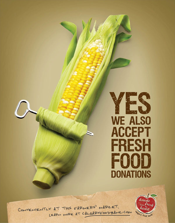 calgary_food_bank_corn Advertisement Ideas: 500 anuncios creativos y geniales