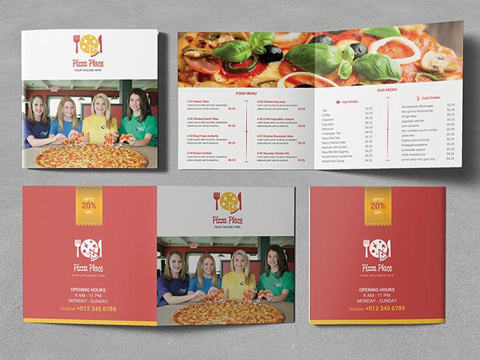 pizza_place_square_bifold_brochure_01 Inspiración del diseño de folletos (64 ejemplos de folletos modernos)