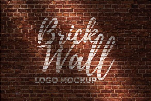 Brick-Wall-Logo-Mockup Plantillas de maquetas de logotipos para descargar y usar para presentar sus logotipos