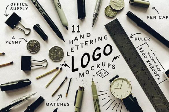 Hand-Lettering-Logo-Mockups Plantillas de maquetas de logotipo para descargar y utilizar para presentar sus logotipos