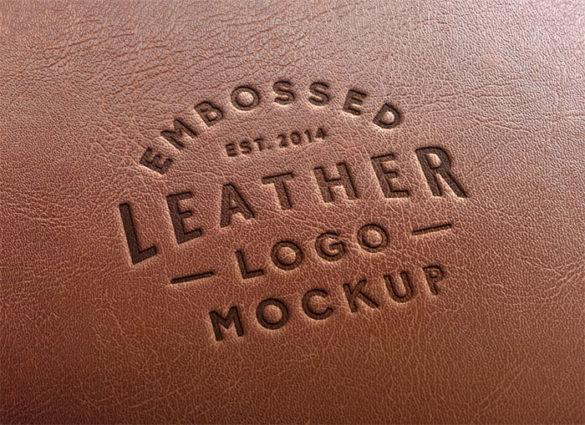 Plantillas de maquetas de logotipo de estampado de cuero con logotipo MockU para descargar y usar para presentar sus logotipos