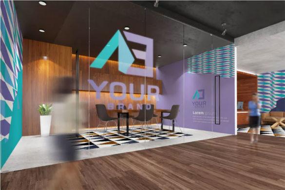 Plantillas de maquetas de logotipo Office-Interior-Branding-Mo para descargar y utilizar para presentar sus logotipos