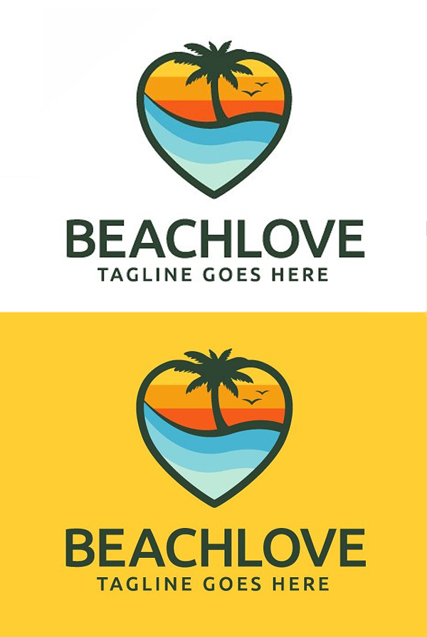 Plantilla de logotipo de Beach Love
