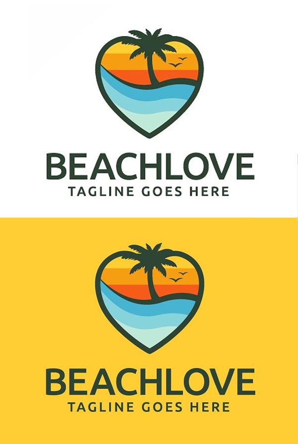plantillas de logotipos, Plantilla de logotipo de Beach Love