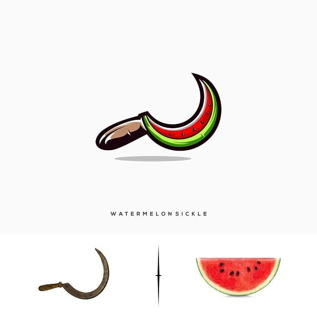 logotipos con 2 elementos, Logos made by combining two different things - 7