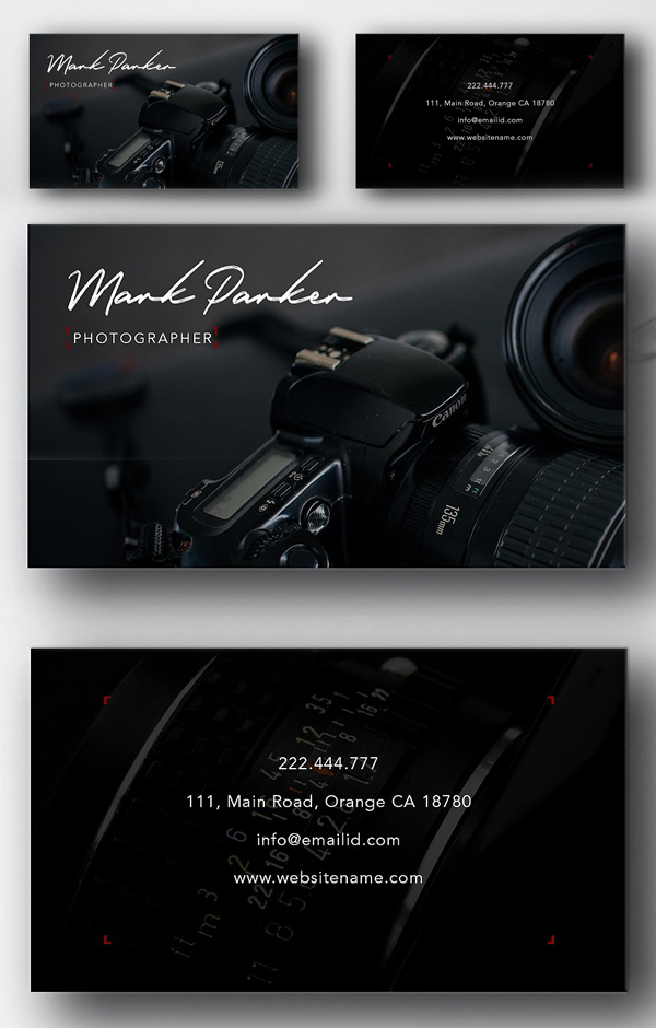 Tarjeta profesional de fotografía
