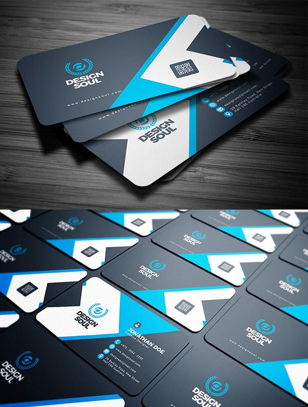 tarjetas de presentación creativas azul y negra