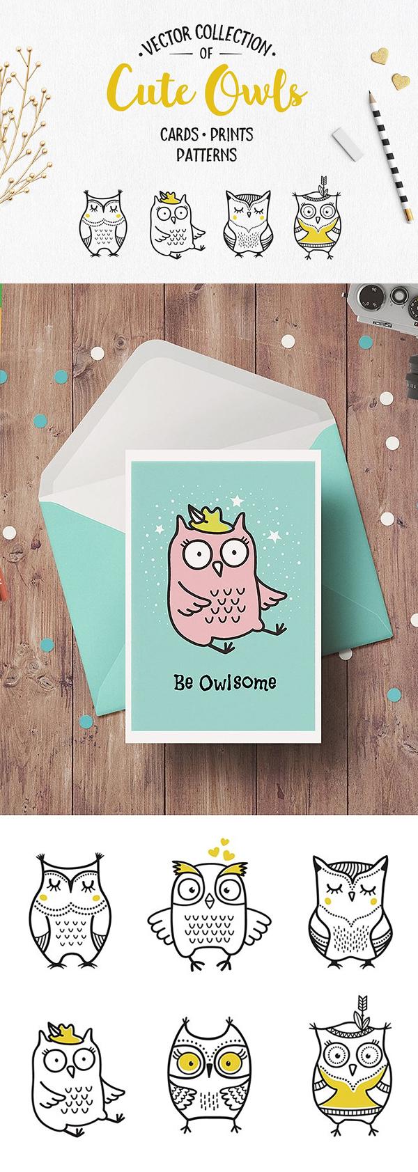 Gratis Cute Owls Clipart PSD