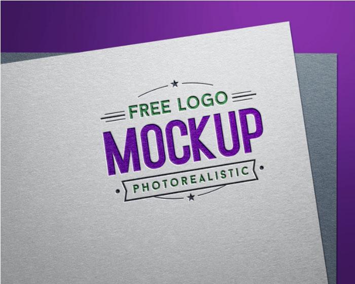 Plantillas de maquetas de Logo de De-Free-Debossed-Color-Logo para descargar y usar para presentar sus logotipos