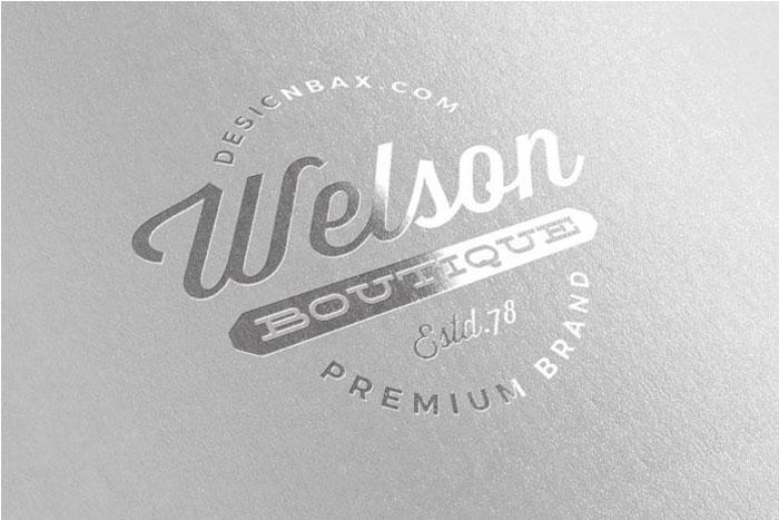 Free-Metallic-Silver-Logo-M Logo plantillas de maquetas para descargar y usar para presentar sus logotipos