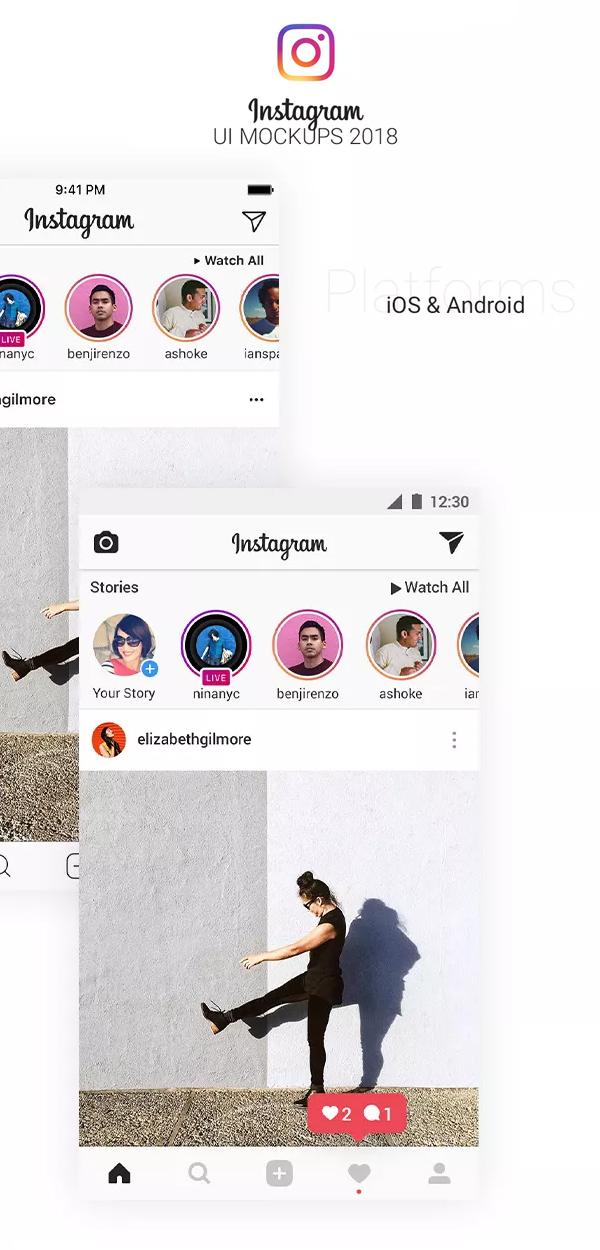 33 Plantillas mockups, Instagram UI Mockups 2018