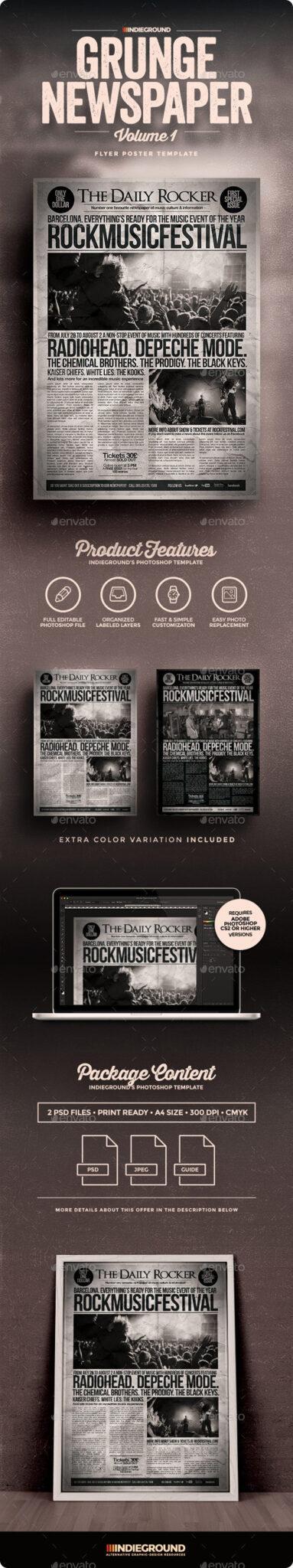 GrungeNewspaperVol1_Flyer_P 43 Plantillas de Flyer que debe descargar para sus clientes