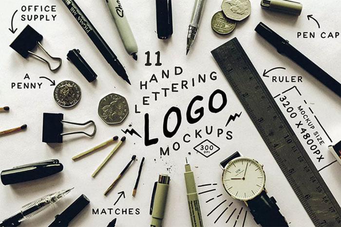 Hand-Lettering-Logo-Mockups Logo plantillas de maquetas para descargar y usar para presentar sus logotipos