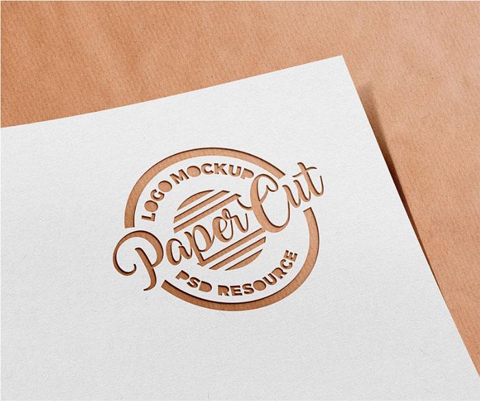 Plantillas de maquetas de logo de maqueta de logo de recorte de papel para descargar y usar para presentar sus logotipos