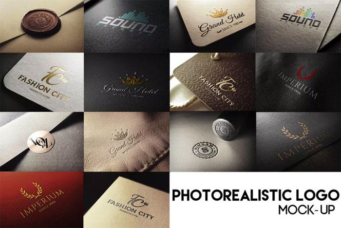 Plantillas de maquetas de fotogramas de logotipos fotorrealistas para descargar y usar para presentar sus logotipos