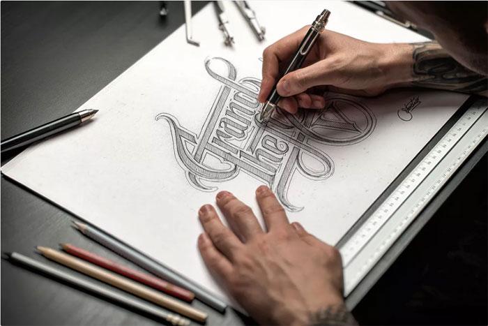 Sketch -_- Maqueta dibujada a mano- Plantillas de logos para descargar y usar para presentar sus logotipos.