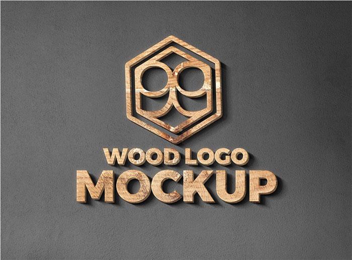 Plantillas de maquetas con el logotipo de Moc de logotipo de madera y metal para descargar y usar para presentar sus logotipos