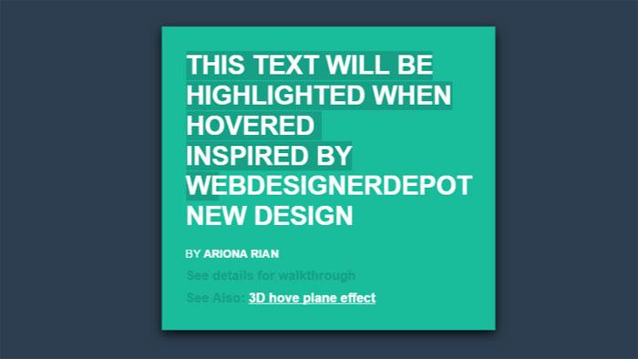 Efectos de texto CSS con texto resaltado animado: 116 ejemplos geniales que puede descargar