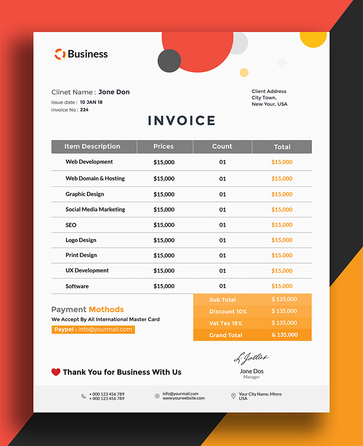 Descargar Creative Business Invoice Template (PSD)