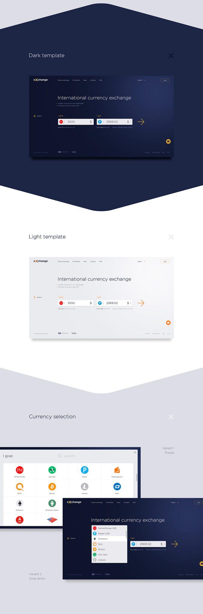 Descarga gratuita de plantillas de diseño web de intercambio de divisas (PSD)
