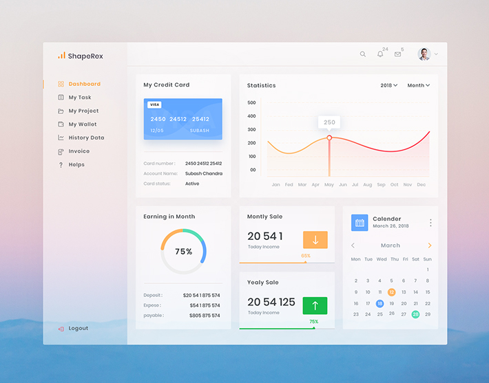 Descargar gratis Creative Dashboard Template Design (PSD)