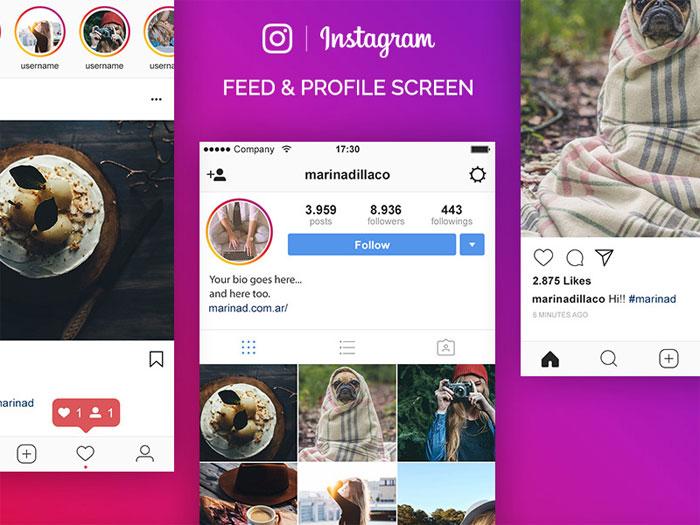 Dribbble-ig Plantillas de Instagram Mockup para descargar para tus presentaciones
