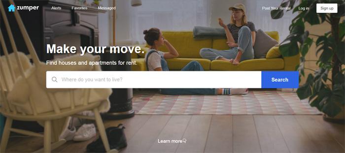 Zumper-Apartments-for-Ren Neat startups en San Francisco con buenos diseños de sitios web