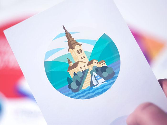 bled_lake_illustration_prin Definición de diseño gráfico: qué es y qué hace un diseñador gráfico