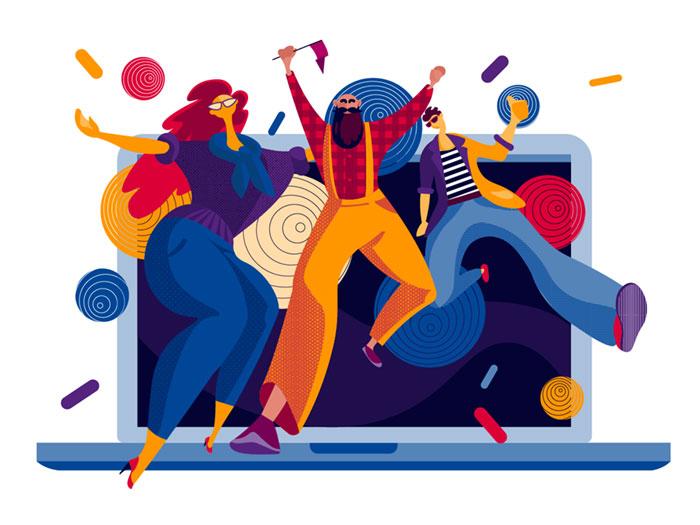 design_party_illustration_t Definición de diseño gráfico: qué es y qué hace un diseñador gráfico