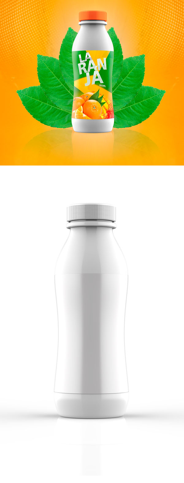 Jugo gratis botella maqueta PSD