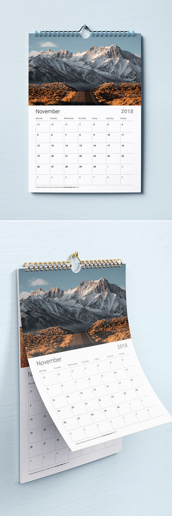 Calendario de pared gratis maqueta PSD