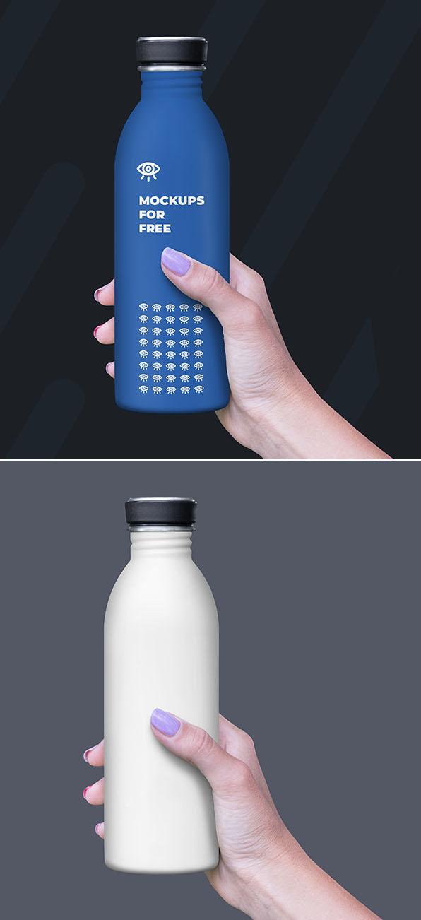 Botella de plástico gratis maqueta PSD