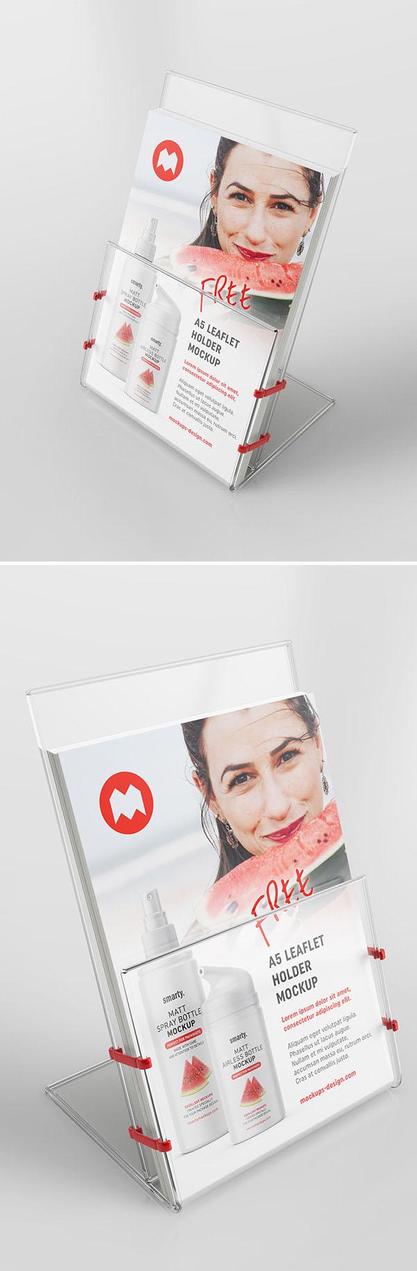 Soporte para folletos transparentes gratis PSD Mockup