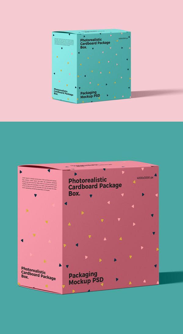 Paquete de cartón fotorrealista gratis Caja Mockup PSD