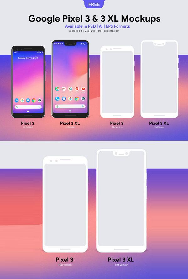 Gratis Google Pixel 3 y Pixel 3 XL Mockup PSD