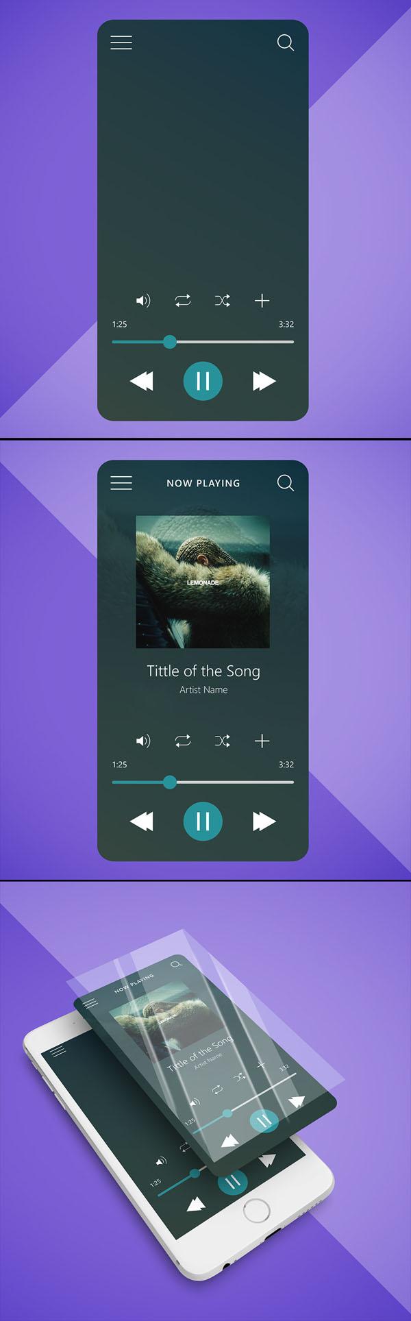 Interfaz del reproductor de música - Maqueta de UI gratis + Ilustración