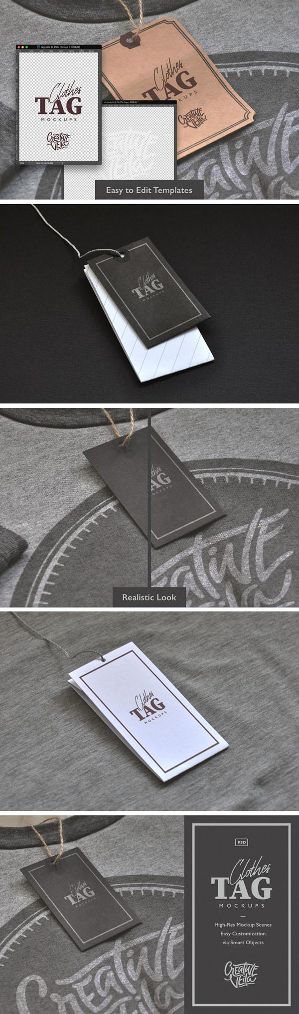 Etiquetas de ropa gratis Etiquetas PSD maquetas