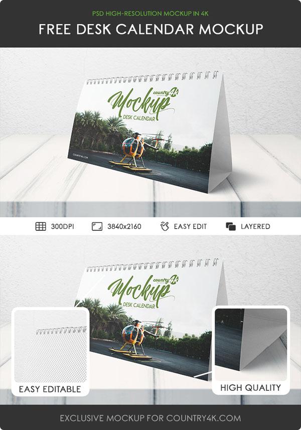 Calendario de escritorio gratuito MockUp