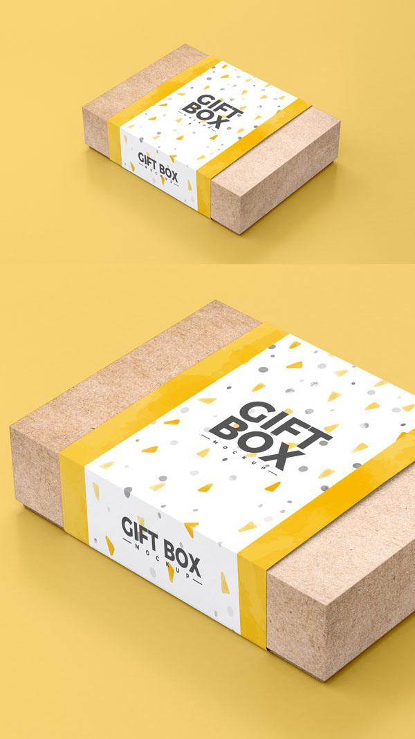 Caja de regalo de papel Craft gratis maqueta PSD