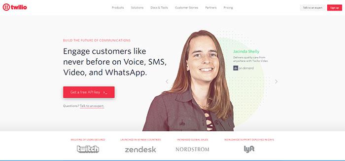 Twilio Neat startups en San Francisco con buenos diseños de sitios web.