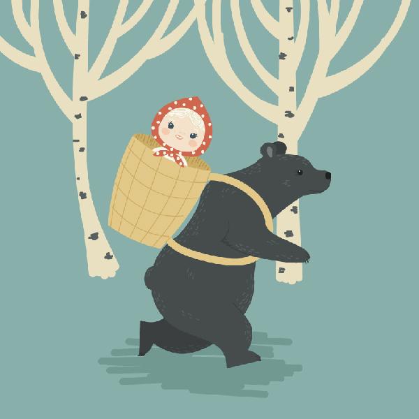 ilustración,Cómo crear Masha y el oso, un cuento de hadas popular ruso, en Adobe Illustrator