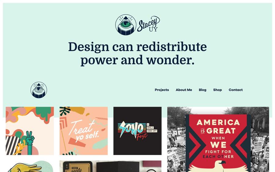 Diseño gráfico y portafolio de ilustraciones con página de tienda y blog.