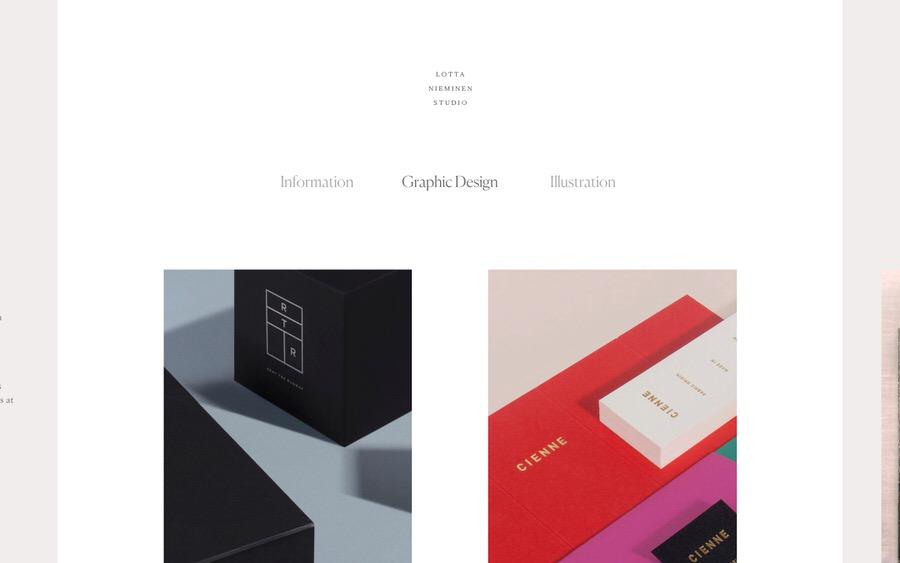 Un ejemplo de un sitio web muy elegante y femenino de diseño gráfico e ilustración.