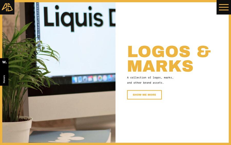 Brillante y audaz ejemplo de diseño gráfico e ilustración de portafolio con imágenes en pantalla completa.
