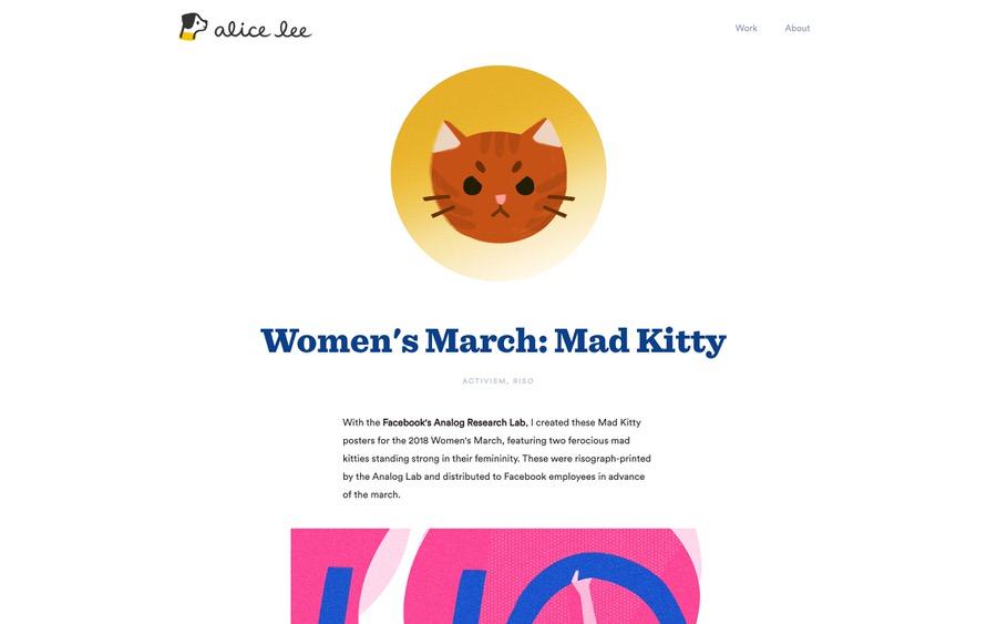 El sitio web de la cartera de ilustraciones de Alice Lee con un sitio web de navegación limpio.