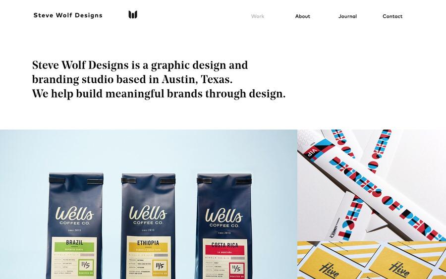 Ejemplo de cartera de diseñador gráfico a pantalla completa.