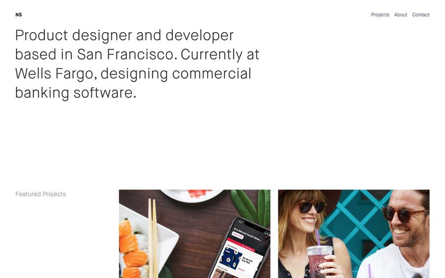Minimalista, ejemplo de cartera de diseño de producto alineado a la derecha.